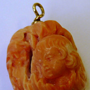 SALE Vintage 14K Gold Carved Salmon Coral Angel Cherub Charm Pendant