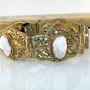 SALE Antique Silver Vermeil Filigree Full Face Shell Cameo Bracelet Original Bakelite Box