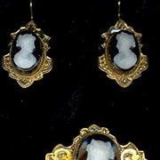 Antique Victorian Hardstone Cameo Brooch Pin Earrings Set