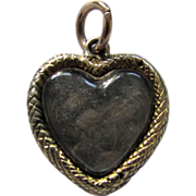 SALE Antique 1830 Georgian 15ct Gold Sweethearts Puffy Heart Locket Charm Pendant