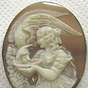 SALE Antique Victorian Carved Shell Cameo Hebe Feeding Eagle