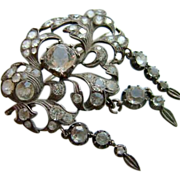SALE Large Antique Georgian Silver Paste Brooch