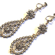 SALE Antique Georgian Silver Gold Rose Cut Diamond Dangle Earrings