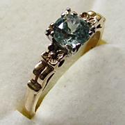 SALE Vintage 1930s Natural Blue Zircon 14K Rose Gold Engagement Ring