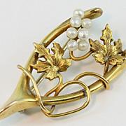 SALE Art Nouveau 10K Yellow Gold Wishbone Pin w/ Seed Pearl Grapes