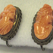SALE Vintage Coral Cameo Sterling Silver Earrings Hera and Flora