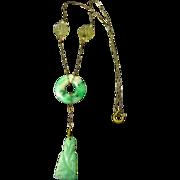 SALE Antique Chinese Carved Jadeite Jade Necklace