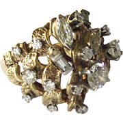 Vintage 1.83ct Estate 14K Yellow Gold Diamond Cluster Ring