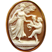 SALE Vintage 18K Yellow Gold Carved Shell Cameo Goddess Cherub Dancing Pin Pendant