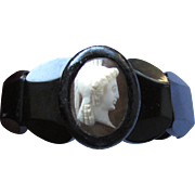 SALE Antique Victorian Whitby Black Jet Shell Cameo Bracelet