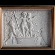 Framed Antique Bing & Grondahl Parian Bisque Royal Copenhagen Plaque Baby Dionysus Cupid ...