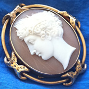 SALE Antique Victorian 9K Yellow Gold Carved Shell Cameo Brooch Demeter