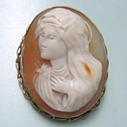 SALE Antique 10K Yellow Gold High Relief Full Face Cameo Madonna Virgin Mary the Blessed ...