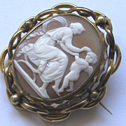 SALE Antique Victorian Carved Shell Cameo Locket Brooch Cupid Eros