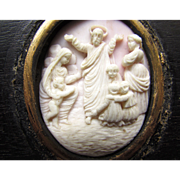 SALE Antique Hand Carved Pink Conch Shell Cameo Framed Wall Hanging Decoration