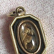 SALE Georgian 18K Gold Black White Enamel Hair Mourning Pendant Charm 1811
