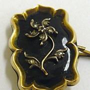SALE Antique Georgian Gold Black Enamel Rose Cut Diamond ForgetMeNot Mourning Brooch