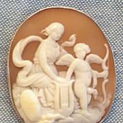 SALE Victorian Hand Carved Shell Cameo Education of Eros Silver Pendant Pin
