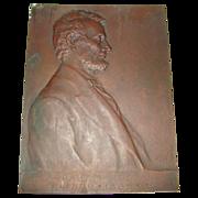 Antique Bronze Portrait Plaque of President Abraham Lincoln