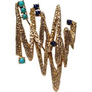 14K Cast Gold Lapis and Turquoise Mid-Century Brooch Pin