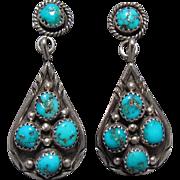 Navajo Sterling Silver & Turquoise Earrings Henry King