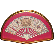 Victorian Hand Painted Silk Fan Bone with Silver Inlay Framed