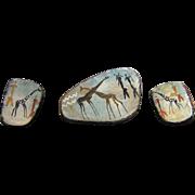 African Tribal Art Hand Painted Earrings and Brooch Giraffes