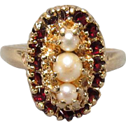 Antique 14K Gold Garnet and Pearl Ring