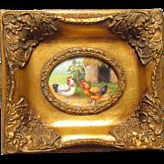 Hen & Rooster Oil On Board Miniature