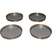 4 Sterling Silver & Cut Glass Coasters by Webster