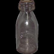 Earliest Blown Glass Milk Bottle Metal Lid Chicago
