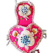 SALE Vintage Whimsey Native American-Wall Pocket-Pink Beaded