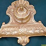 SALE Art Nouveau Tulips Brass Inkwell-Brass Insert