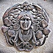 Art Nouveau Sterling Silver Pin/Pendant Woman Flowing Hair