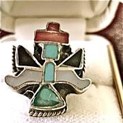"""Vintage Zuni Pueblo Knife Wing Kachina Ring Inlaid 4 1/2"""""""