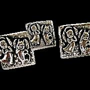Retro  Angels & Devils Cuff Link & Tie Set-Unisex-1960's