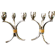 Rare Art Deco Pair Candlesticks 1847 Wm. Rogers Silverplate Flair Pattern-3 BRANCH