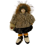 "SALE Antique Eskimo Inuit Native American Doll 9"" Leather Face & Body"