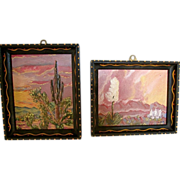 Plein Aire Desert Landscape Paintings Pair-G.M.Moran  Hand Painted Frames West