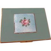 Green Enamel & Blue  Guilloche Cigarette Case Rose Design