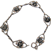 SALE Vintage Early 20th Century Sterling Silver Floral Links Bracelet Beautiful