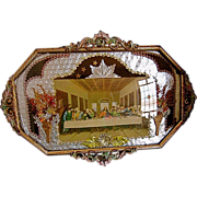 SOLD Vintage Last Supper Print Tin Frame Convex Glass Folk Art