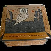 Vintage Mexican Owl Pottery Trinket Box Tonala Signed J. Estrada