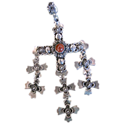 Vintage Mexican Sterling Silver Yalalag Cross Pendant Signed