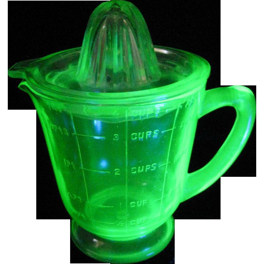 Vintage Green Depression Footed Uranium Glass Juicer ...