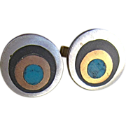 SALE Vintage Mexican Mid Century Sterling Cuff links Signed Miguel Brass Onyx & Turquoise