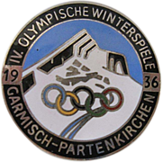 1936 Garmisch-Partenkirchen German Enamel Olympic Pin - Large 35 mm Diameter