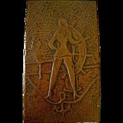 Art Deco Hand Made Brass Trinket Box Hand Hammered