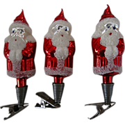 Vintage Santa Claus Clip On Czechoslovakia Hand blown 3