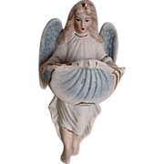Beautiful Vintage Bisque Angel Holy Water Font Germany